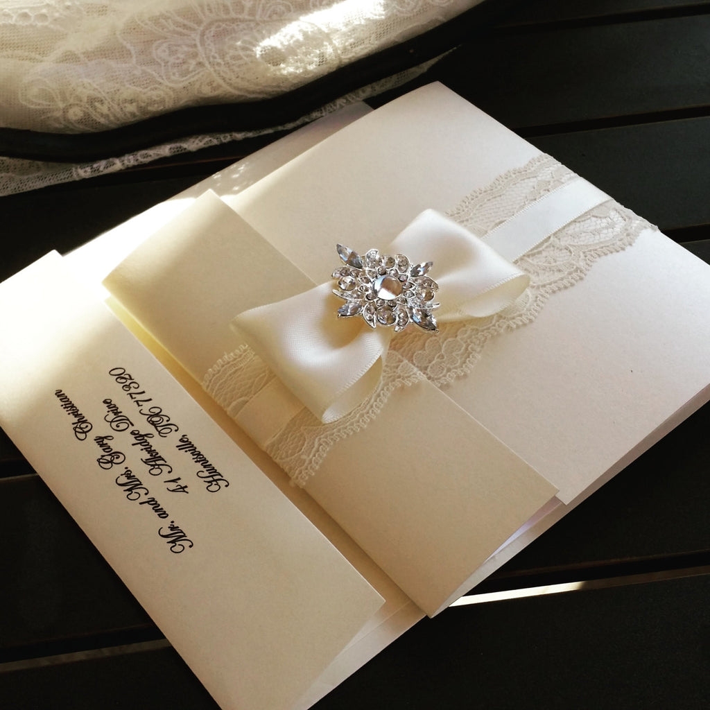 Stunning Jewel  Invite, Glamorous lace pocket-fold invitation, Bilingual