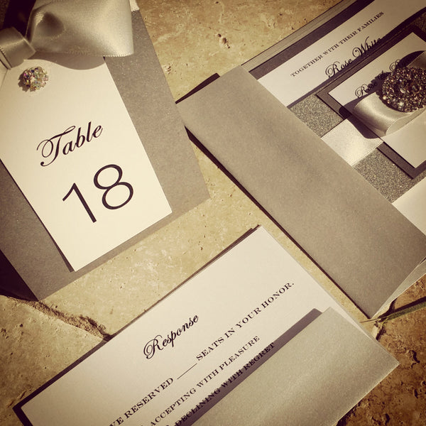 Glamorous Bling Jewel Wedding Invitation. Lovely Monogram. Bilingual.