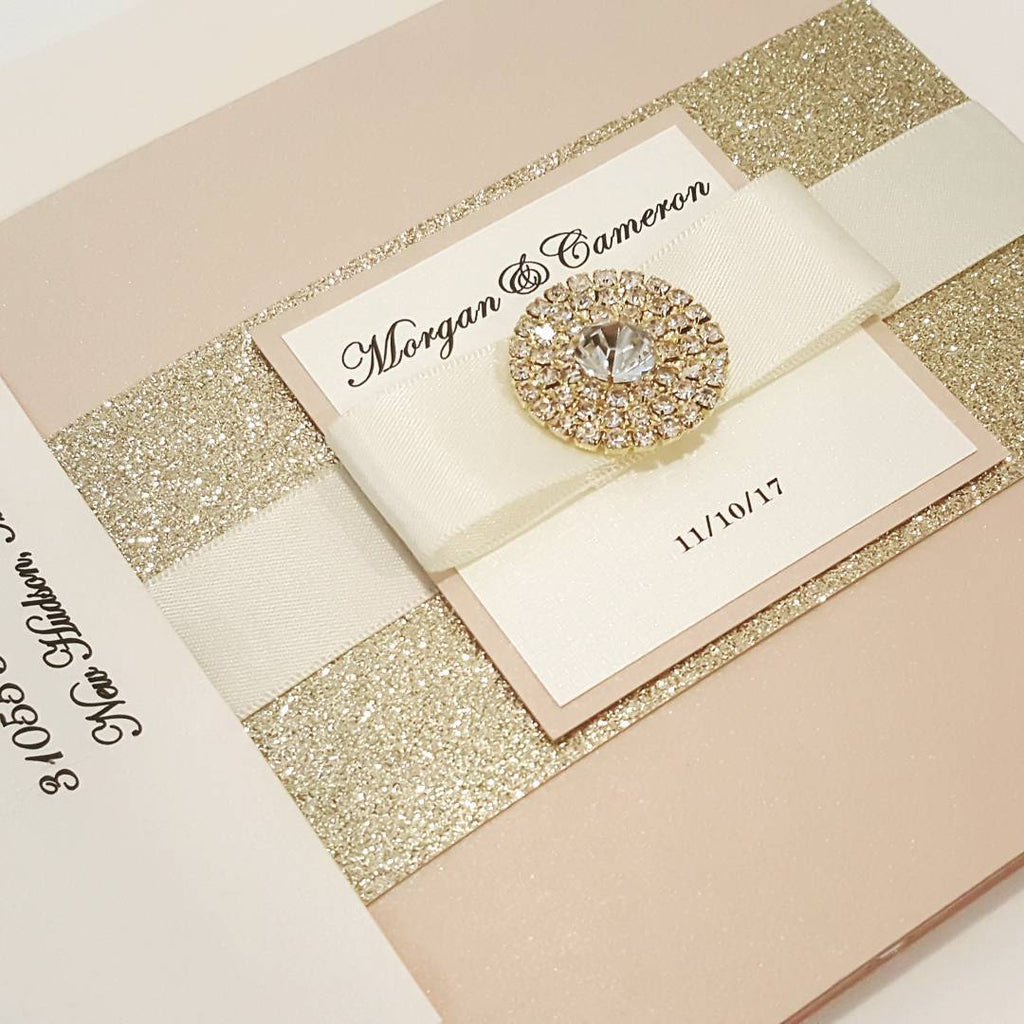 Blush Gold Complete Trifold Wedding Invitation Suite with 3 ...