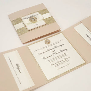 Blush Gold Complete Trifold Wedding Invitation Suite with 3 inserts and printed envelopes. High end Blush Gold Trifold Wedding Pocketfold Card