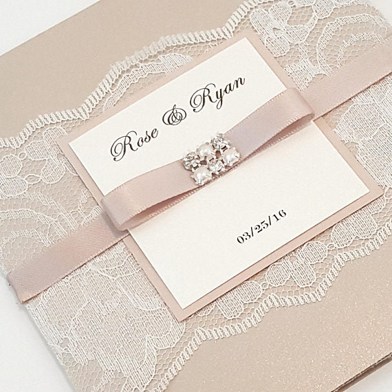 Lovely Blush Lace Trifold Wedding Card with Jewel l Two Lace Pockets l Comes with RSVP card , Reception card and Information Card