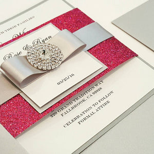 Fuchsia Glamorous Bling Jewel Wedding Invitation. Lovely Monogram. Stunning Sparkling Pink invite, Bilingual