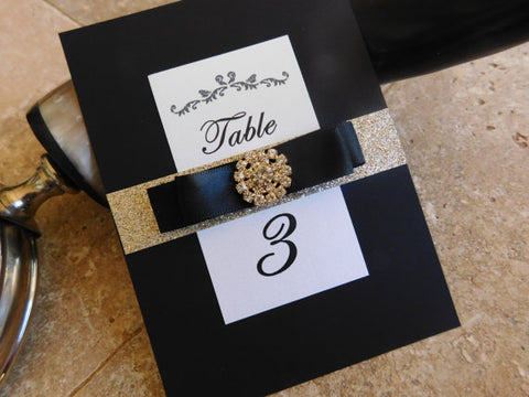Black / Gold Table Numbers . Glitter Wedding Numbers. Bling Jewel Table Numbers