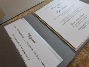Ionized Trifold Glitter Wedding Invitation Suite with 3 inserts and printed envelopes