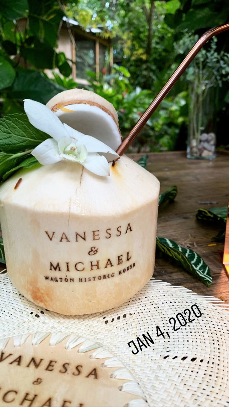 personalized coconut cups and palm fan