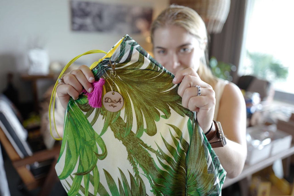 personalized welcome bag with palm tree print