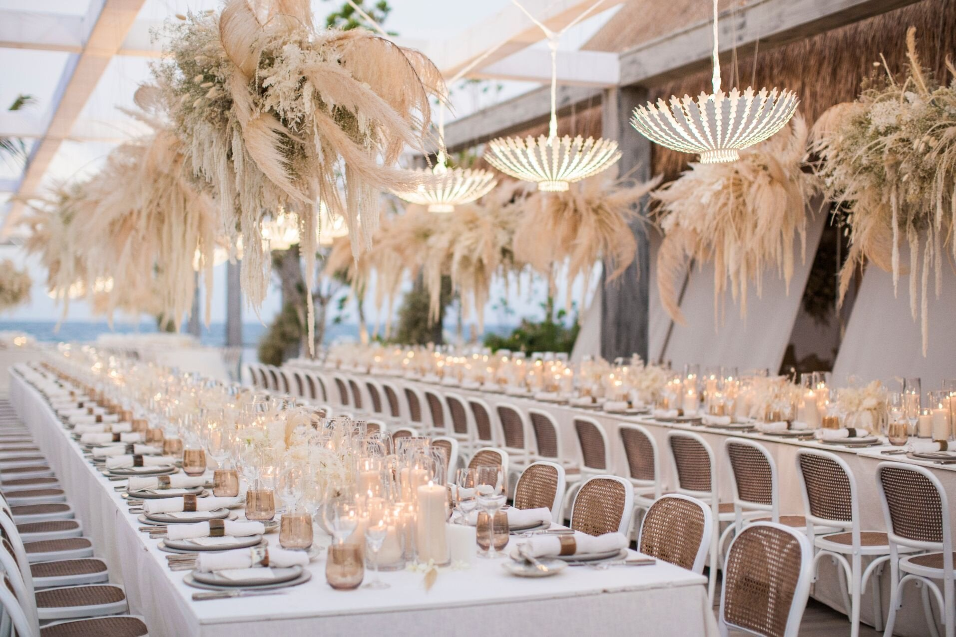 beach wedding reception in Rosewood Mayakoba
