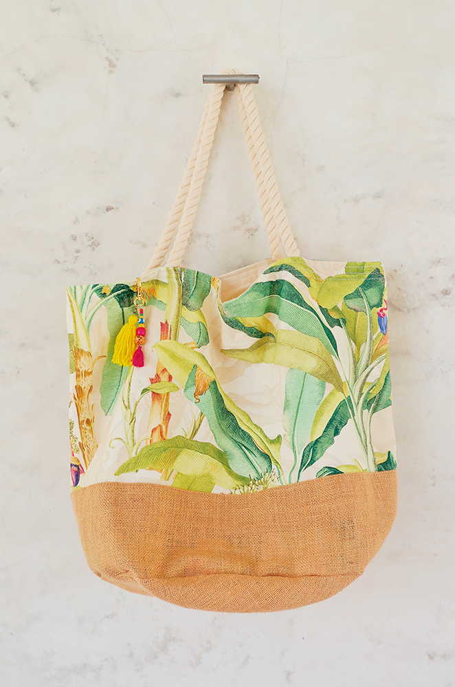 oversized beach bag with banana leaf print