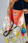 oversized canvas tote with watermelon print tassel keychain