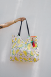 oversized canvas tote with watermelon print