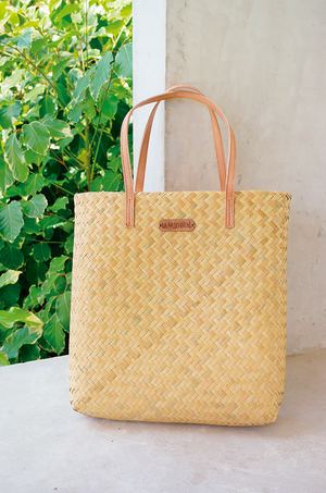 straw bag tote with leather handles