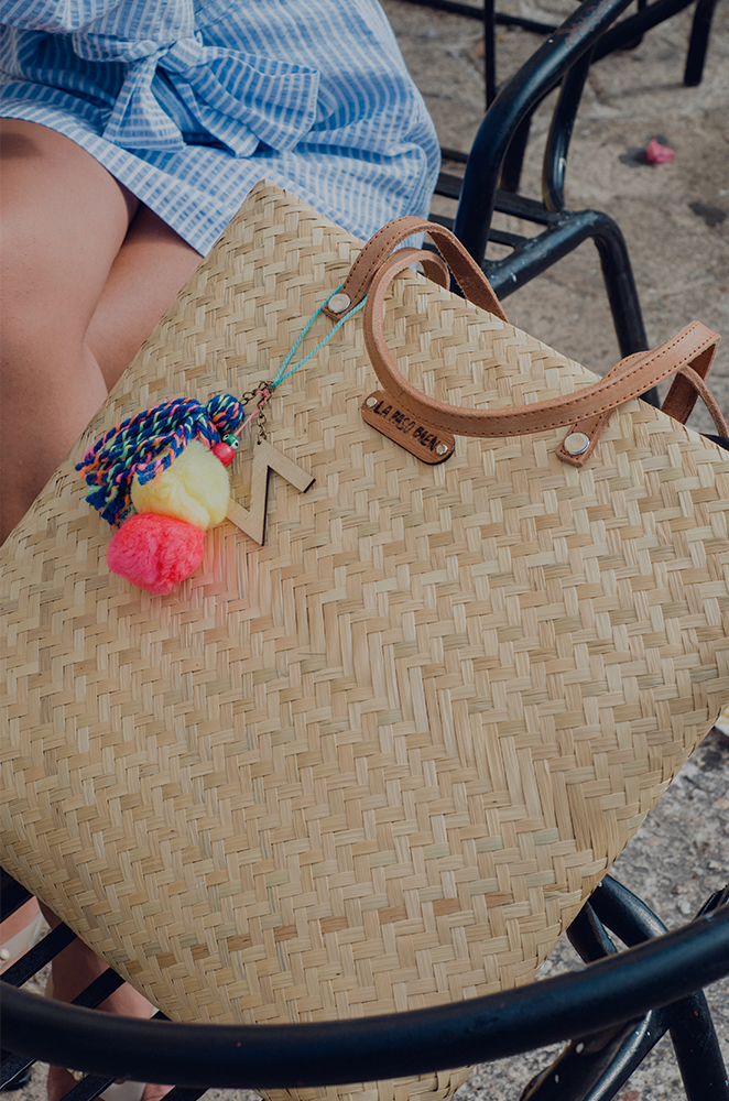 custom beach tote with pom pom charm