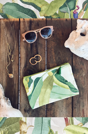 palm print tropical clutch bag