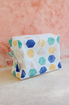 geometric makeup bag with zipper