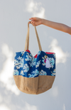 navy oversized beach bag made with cotton canvas and burlap