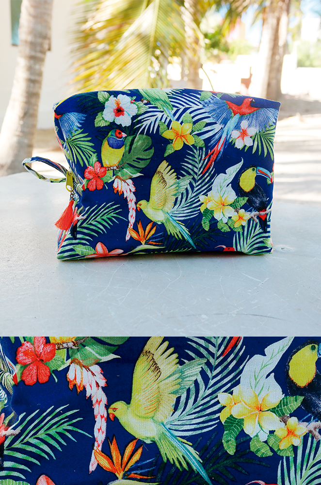 tropical makeup bag