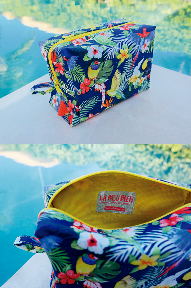 tropical cosmetic bag with toucan print