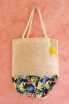 beach wedding welcome bags with tropical print