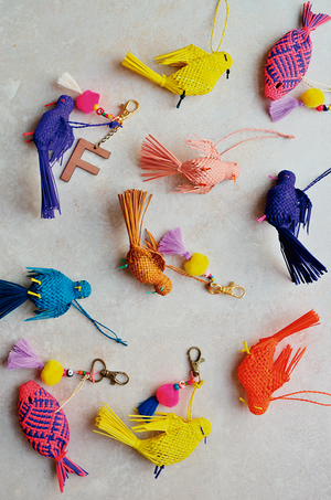 personalized bird keychains in assorted colors
