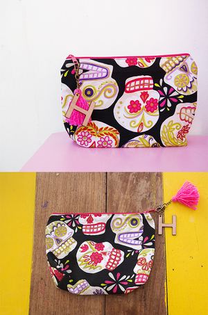 personalized makeup bag with mexican sugar skull print