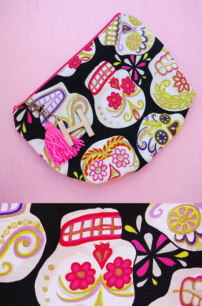 cosmetic bag personalized with day of the dead sugar skulls print