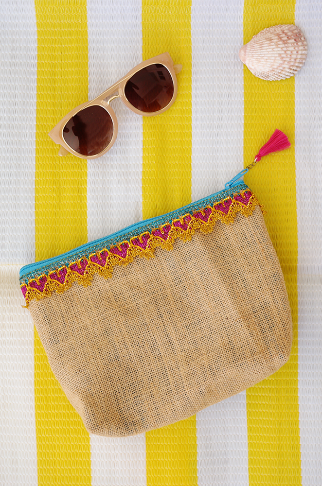 burlap clutch with tassel charm