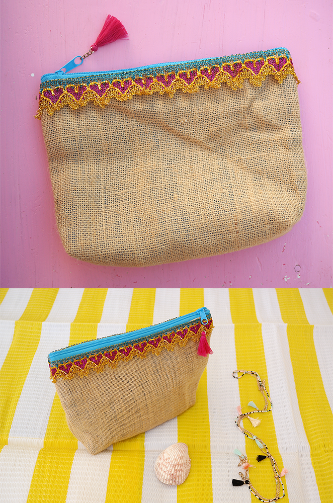 jute makeup bag with sparkly heart trim