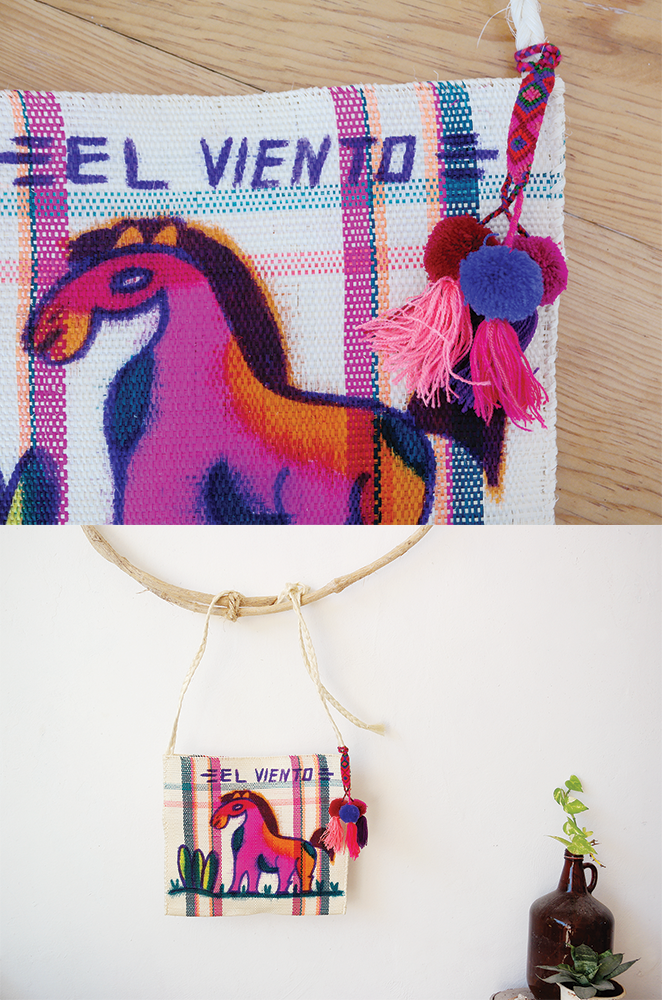 mexican hand painted bag with pom pom charm