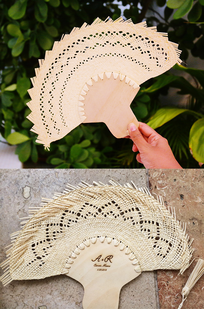 handwoven palm leaf hand fan