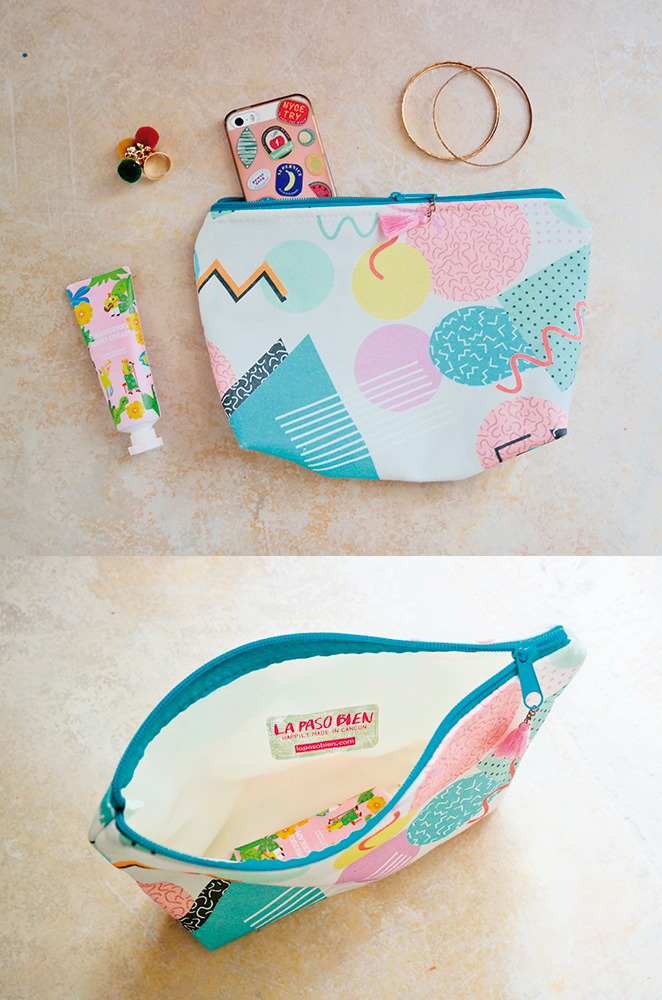 memphis design style makeup bag