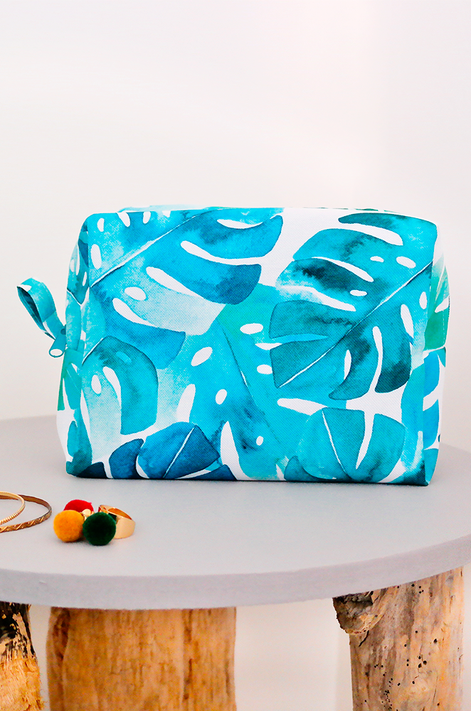 monstera print toiletry bag