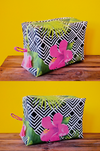 large toiletry bag with hibiscus print
