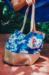 personalized beach bag made of natural burlap and cotton canvas