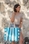 striped tote bag for the beach