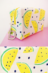 customized toiletry bag with watermelon print