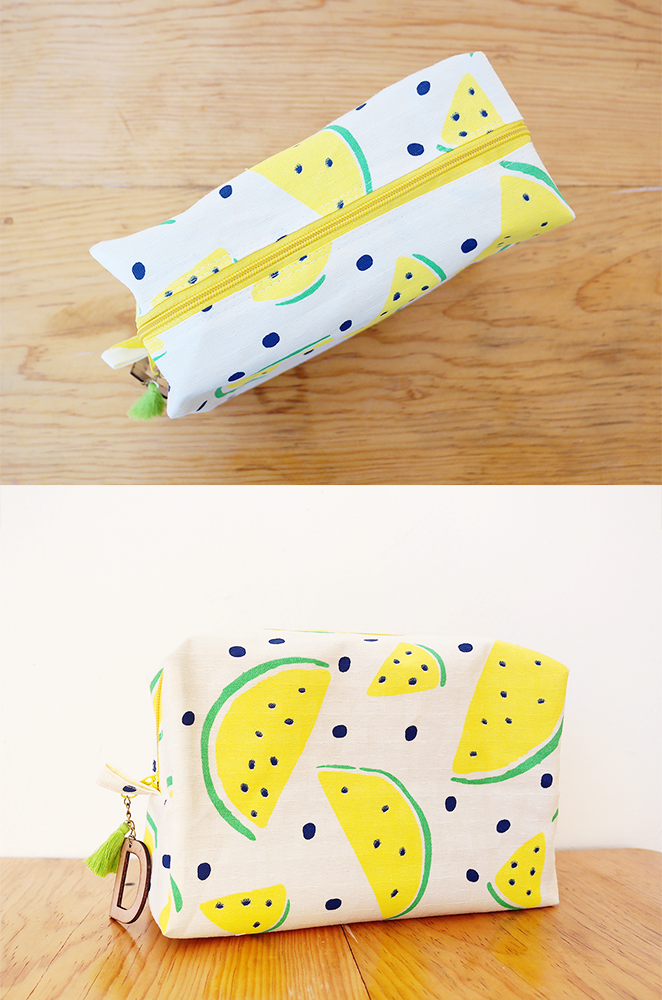 personalized tropical makeup bag in watermelon print
