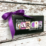 Christmas Ornaments - Wedding Gift Ornament, Personalized Family Name Wood Sign
