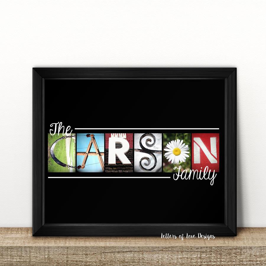 Last Name Custom Print 8x10 inch family name sign photo – Letters of ...