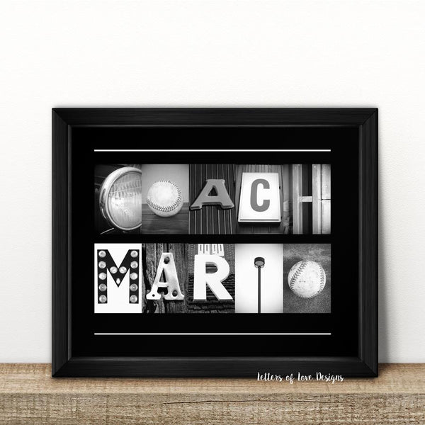 Baseball COACH Gift - 8 x 10 inch Photo Print Plus Optional Frame - Sports Team
