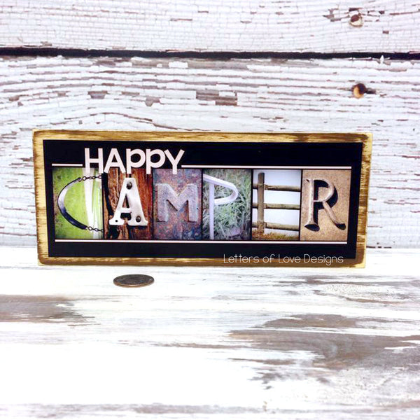 Happy CAMPER Wood Sign - Camping Gift