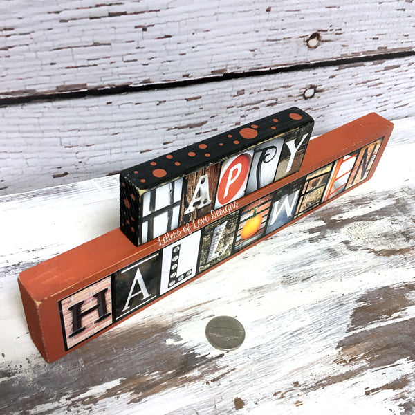 Happy Halloween Wood Sign, Halloween Decor, October Orange