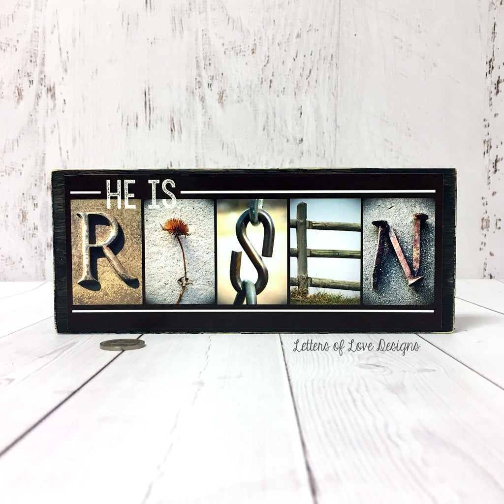 Easter Sign Gift, He Is Risen Wood Sign, Christian Gifts, Easter Decor