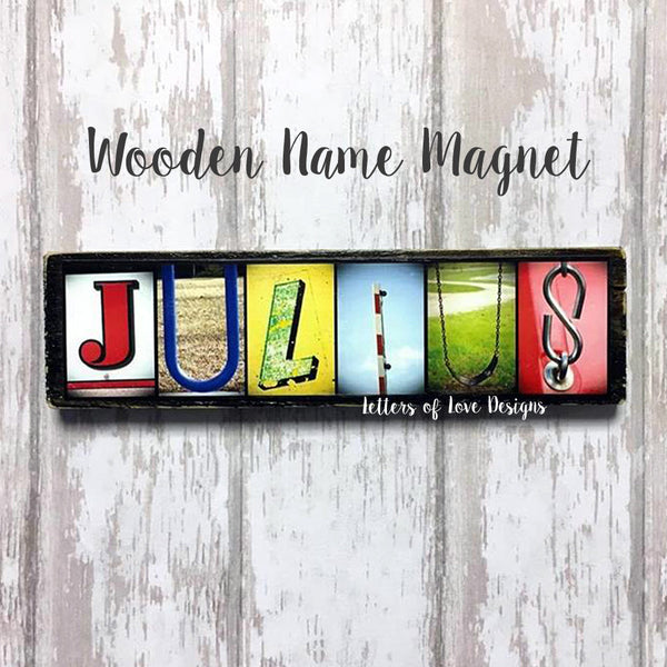Custom Name Refrigerator Wooden Magnets - Boy Brothers Ring Bearer Wedding Birthday Christmas