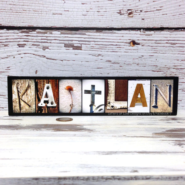 Child Name Sign, Tiny Name Sign for Girl or Boy, Photo Letter Art