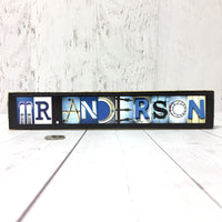Male Teacher Name Sign, Custom Teacher Gift for Teachers, Masculine Gift - Free Shipping