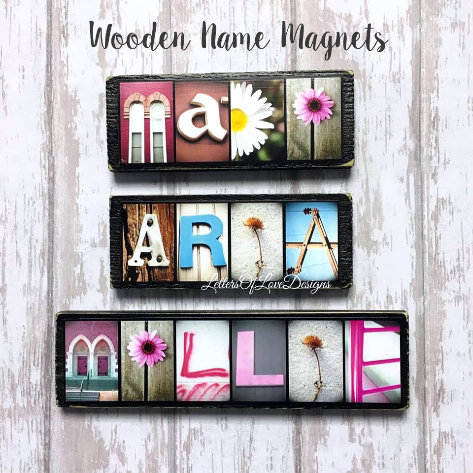 Name Magnet Wedding Gift Bridesmaid Flower Girl Sign Letters Of