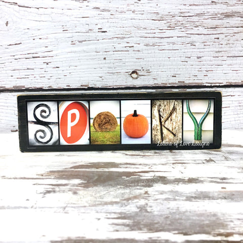 Spooky Wood Sign, Happy Halloween Decor, Orange October Art