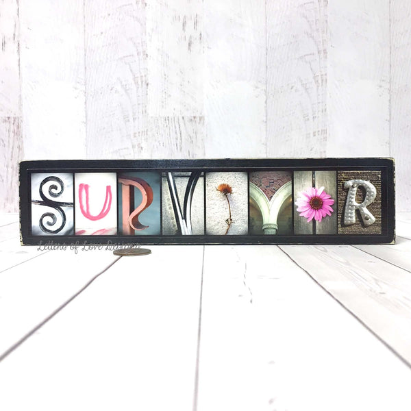 Survivor Wood Sign, Breast Cancer Survivor Gift, Pink Hope Awareness