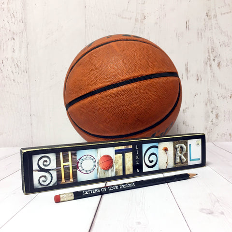 Basketball Gift, Basketball Sign, Shoot Like a Girl Female Basketball Gift, Basketball Coach Gift