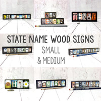 State Name Wood Sign, Travel Gifts, State Map, Travel Art - Free Shipping